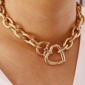 Gold Tone Chunky Heart Necklace Choker